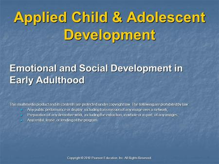 Applied Child & Adolescent Development