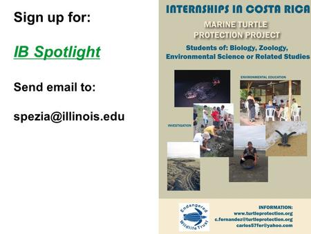Sign up for: IB Spotlight Send  to: