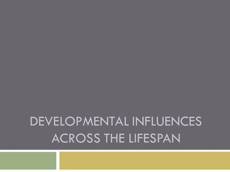 DEVELOPMENTAL INFLUENCES ACROSS THE LIFESPAN. Developmental Influences Across the Lifespan  No human activity has greater biological and social significance.