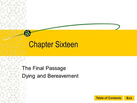 The Final Passage Dying and Bereavement