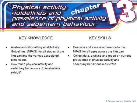 KEY KNOWLEDGEKEY SKILLS  Australian National Physical Activity Guidelines (NPAG) for all stages of the lifespan and the various associated dimensions.