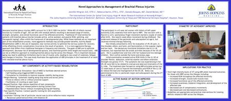 Novel Approaches to Management of Brachial Plexus Injuries Jennifer Wingrat, ScD, OTR/L 1, Rebecca Martin, OTR/L, OTD 1, Glenaliz Bosques, MD 3, Daniel.