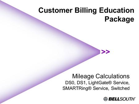 Customer Billing Education Package Mileage Calculations DS0, DS1, LightGate® Service, SMARTRing® Service, Switched.