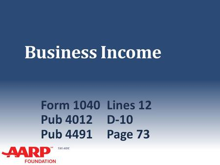 TAX-AIDE Business Income Form 1040Lines 12 Pub 4012D-10 Pub 4491Page 73.
