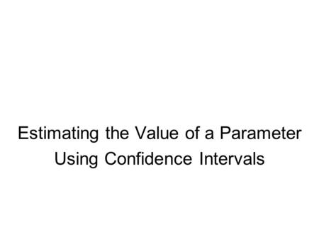 Estimating the Value of a Parameter Using Confidence Intervals.