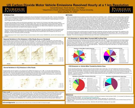 US Carbon Dioxide Motor Vehicle Emissions Resolved Hourly at a 1 km Resolution Daniel Mendoza 1, Kevin Gurney 1, Chris Miller 1 1 Department of Earth and.