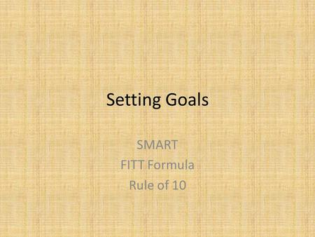 SMART FITT Formula Rule of 10