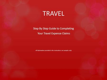 TRAVEL Step By Step Guide to Completing Your Travel Expense Claims All information provided in the instructions are samples only.
