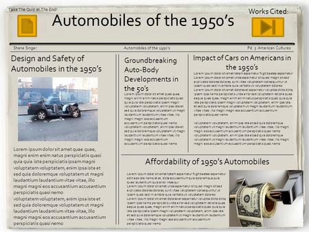 Korean War Gazette Automobiles of the 1950's Shane SingerAutomobiles of the 1950'sPd. 3 American Cultures Design and Safety of Automobiles in the 1950's.