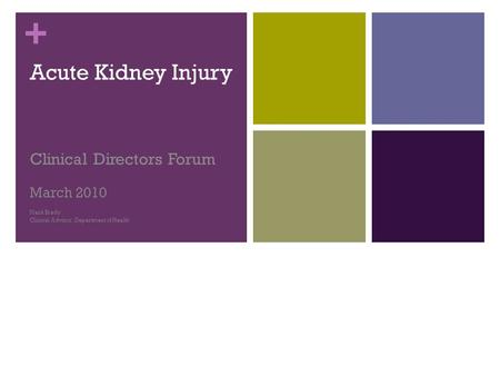+ Acute Kidney Injury Clinical Directors Forum March 2010 Mark Brady Clinical Advisor, Department of Health.