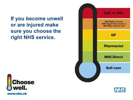If you become unwell or are injured make sure you choose the right NHS service.