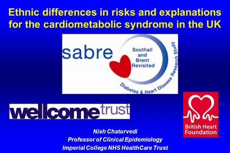 Ethnic differences in risks and explanations for the cardiometabolic syndrome in the UK Nish Chaturvedi Professor of Clinical Epidemiology Imperial College.