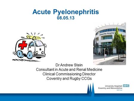 Acute Pyelonephritis 08.05.13 Dr Andrew Stein Consultant in Acute and Renal Medicine Clinical Commissioning Director Coventry and Rugby CCGs.