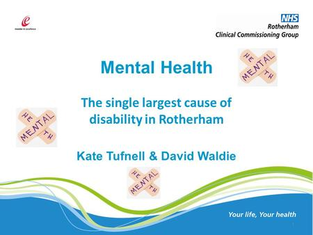 Mental Health The single largest cause of disability in Rotherham Kate Tufnell & David Waldie 1.