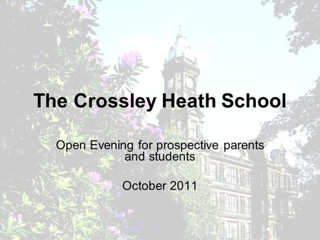 The Crossley Heath School Open Evening for prospective parents and students October 2011.