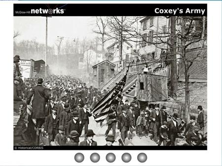 Coxey's Army Discussion Why do you think that the marchers have a band and are carrying an American flag? To show that they are patriotic Americans Why.