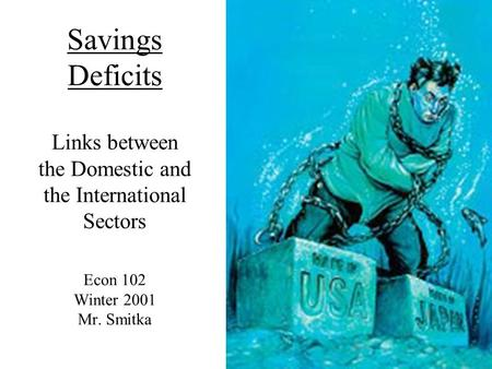 Savings Deficits Links between the Domestic and the International Sectors Econ 102 Winter 2001 Mr. Smitka.