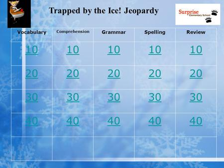 Trapped by the Ice! Jeopardy Vocabulary Comprehension GrammarSpellingReview 10 20 30 40.