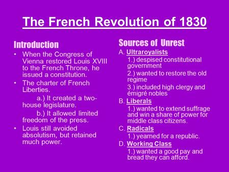 The French Revolution of 1830 Introduction When the Congress of Vienna restored Louis XVIII to the French Throne, he issued a constitution. The charter.