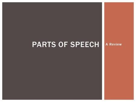 Parts of Speech A Review.