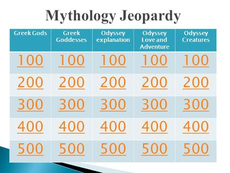 Greek GodsGreek Goddesses Odyssey explanation Odyssey Love and Adventure Odyssey Creatures 100 200 300 400 500.