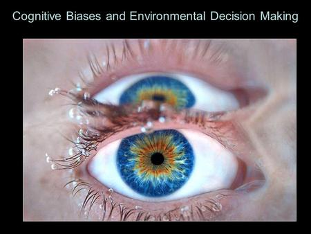 Cognitive Biases and Environmental Decision Making.