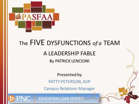 The FIVE DYSFUNCTIONS of a TEAM A LEADERSHIP FABLE By PATRICK LENCIONI Presented by PATTY PETERSON, AVP Campus Relations Manager.