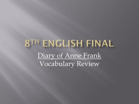 Diary of Anne Frank Vocabulary Review. AGGRAVATING Exasperate or irritate.