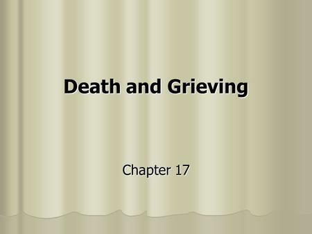 Death and Grieving Chapter 17. Issues in Determining Death Brain death — neurological definition of death Brain death — neurological definition of death.