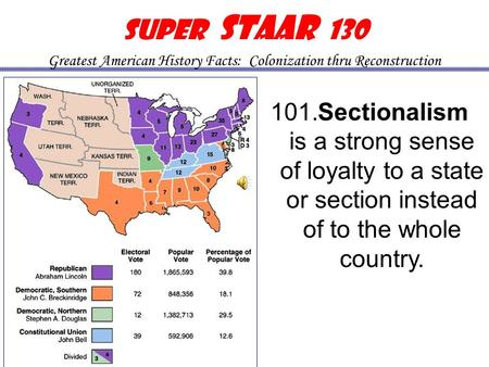 101. Sectionalism is a strong sense of loyalty to a state or section instead of to the whole country. Sectionalism Super STAAR 130 Greatest American History.