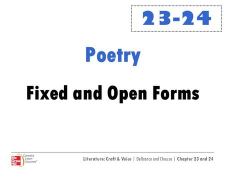 23-24 Poetry Fixed <strong>and</strong> Open Forms.