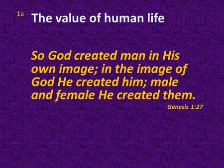 1a So God created man in His own image; in the image of God He created him; male and female He created them. Genesis 1:27 The value of human life.