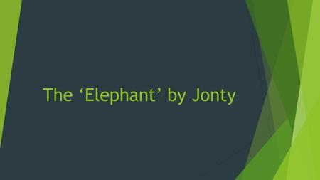 The 'Elephant' by Jonty. Interesting facts about elephants!  Did you know? That Elephants are the largest land animal in the world.  Did you know? That.