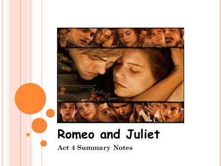 Romeo and Juliet Act 4 Summary Notes. A CT 4, S CENE 1 Paris goes to Friar Lawrence's Paris tells him that he is to marry Juliet on Thursday. Paris explains.