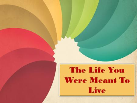 "The Life You Were Meant To Live. ""Evicting Envy From Your Heart"""