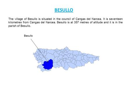 The village of Besullo is situated in the council of Cangas del Narcea. It is seventeen kilometres from Cangas del Narcea. Besullo is at 357 metres of.