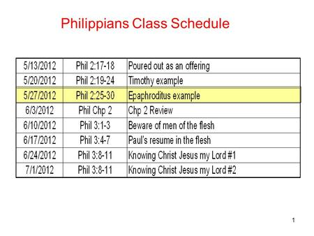 1 Philippians Class Schedule. 2 Philippians 2:25-30 25 But I thought it necessary to send to you Epaphroditus, my brother and fellow worker and fellow.
