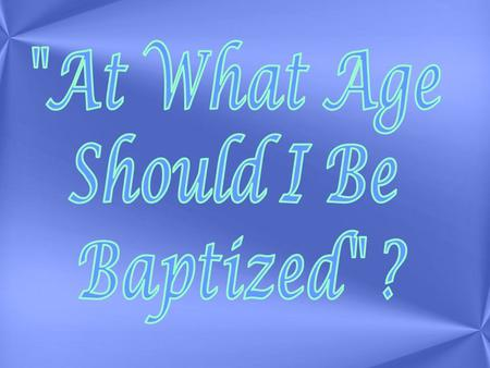Does it even matter ? Yes it totally matters To understand this, we need to start from the beginning We need to discuss the reasons for Baptism We need.