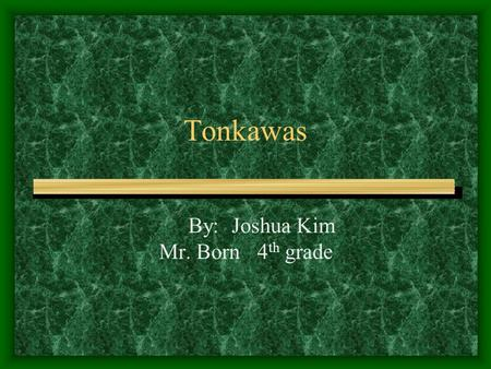 Tonkawas By: Joshua Kim Mr. Born4 th grade. Clothing The Tonkawa warriors wore protective jackets. The men wore long breechcloths that came down to there.