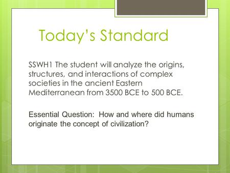 Today's Standard SSWH1 The student will analyze the origins, structures, and interactions of complex societies in the ancient Eastern Mediterranean from.
