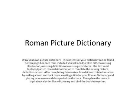 Roman Picture Dictionary