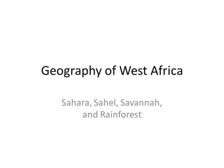 Geography of West Africa