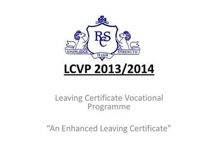 LCVP 2013/2014 Leaving Certificate Vocational Programme
