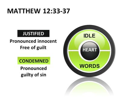Text IDLE WORDS JUSTIFIED CONDEMNED Pronounced guilty of sin Pronounced innocent Free of guilt HEART MATTHEW 12:33-37 1.