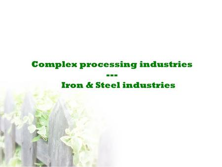 Complex processing industries --- Iron & Steel industries.