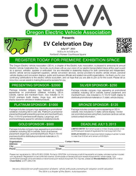 We are a 501(c)(3) non-profit association of electric vehicle enthusiasts promoting EV adoption and EV education The OEVA is a chapter of the Electric.