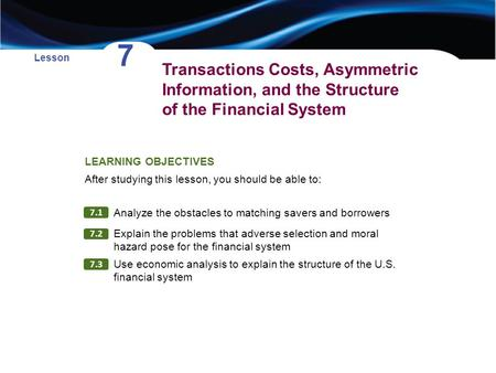 Transactions Costs, Asymmetric Information, and the Structure of the Financial System Lesson 7 LEARNING OBJECTIVES After studying this lesson, you should.