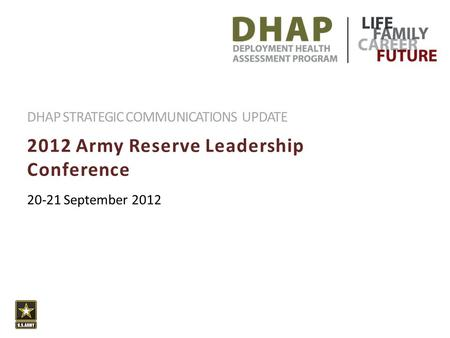 2012 Army Reserve Leadership Conference DHAP STRATEGIC COMMUNICATIONS UPDATE 20-21 September 2012.