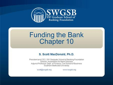 Funding the Bank Chapter 10