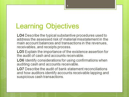 Learning Objectives LO4 Describe the typical substantive procedures used to address the assessed risk of material misstatement in the main account balances.